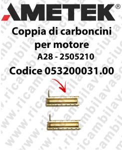 COPPIA di Carboncini Motore aspirazione per motore  Ametek A28 - 2505210 2 x Cod: 053200031.00