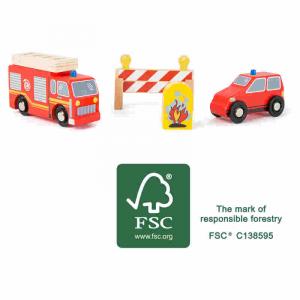 Set Vigili del fuoco Accessori trenino legno Small Foot World FSC 100%
