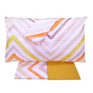 Set lenzuola matrimoniale 2 piazze in cotone HAPPIDEA Basic zig-zag arancione