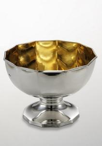 Alzata dodecagonale stile ottagonale interno oro argentato argento sheffield cm.15,5h diam.20