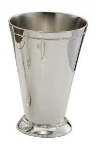 Bicchiere vaso fiori portapenne argentato argento sheffield stile perlinato cm.5,6h diam.5,5