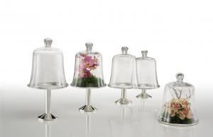 Piatto tondo  Provence con campana in vetro argentato sheffield cm.26h diam.21
