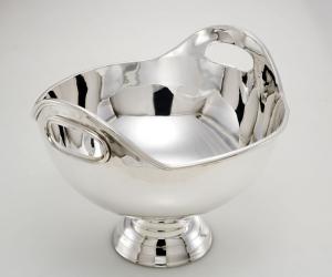 Spumantiera secchiello champagne con manici argentato argento sheffield cm.34h diam.43