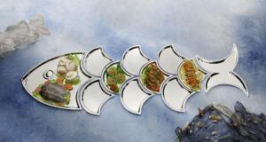 Composizione buffet pesce argentato argento sheffield cm.170x66