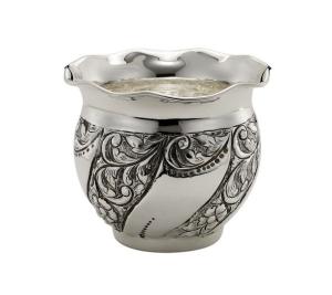 Cache pot portavaso argentato argento sheffield stile cesellato cm.10h diam.11,5