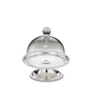 Alzatina per dolci e frutta argentato argento con campana in vetro stile Cardinale cm.10h diam.9