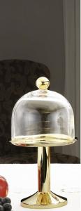 Alzata dorata con campana stile Cardinale dorato cm.29h diam.16