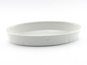 Pirofila risottiera ovale in porcellana cordonata