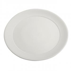 Piatto vassoio in porcellana bianca tondo con falda larga cm.diam.44
