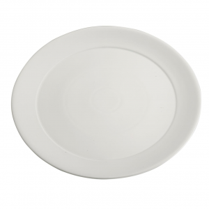 Piatto vassoio in porcellana bianca tondo con falda larga cm.diam.52