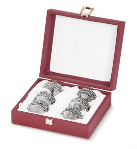 Legatovagliolo 6 pz con scatola stile Barocco argentato argento sheffield cm.diam.4,5