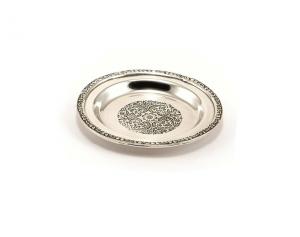 Piattino sottobicchiere bordato argentato argento sheffield stile Impero cm.diam.11,5