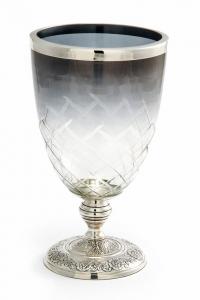 Vaso in vetro con base argentato argento sheffield cm.25h diam.13,5