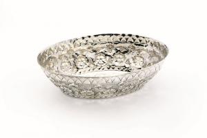 Cestino ovale argentato argento sheffield stile cesellato cm.30x21
