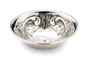 Ciotolina tonda argentato argento sheffield stile martellata cm.2h diam.7,5