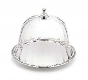Piatto dolce argentato argento sheffield con cloche campana in vetro cm.22h diam.29,5