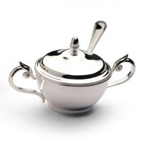 Zuccheriera argentata argento con cucchiaio stile Cardinale cm.6h diam.9