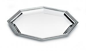 Vassoio ottagonale argentato argento in stile Inglese cm.26x26