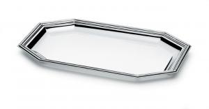 Vassoio ottagonale argentato argento stile Inglese cm.28,5x17