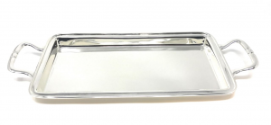 Vassoio rettangolare argentato argento con manici cm.29,5x15x2h