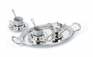 Servizio caffè con vassoio 2 tazzine e zuccheriera argentato argento sheffield cm.40x21x8h