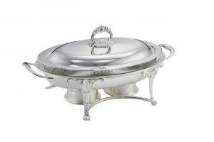 Chafing dish scaldavivande ovale con pyrex e fornelletti inclusi argentato argento sheffield cm.46x27x21,5h
