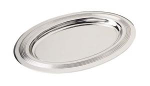 Piattino ovale rigato in silver plated stile Inglese cm.14,9x10,5x4h