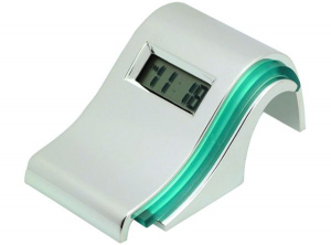 Sveglia digitale onda in silver plated cm.9,5x5x4,2h