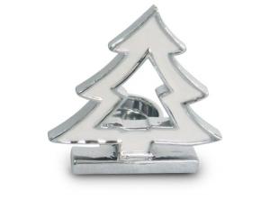 Portacandela albero Natale bianco e argentato cm.6,8x10x10,2h