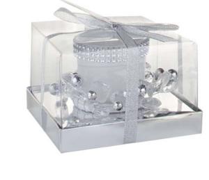 Candela natalizia vetro bianco cm.11,5x11,5x7h