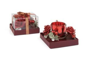 Candela natalizia in vetro rosso cm.11,5x11,5x7h