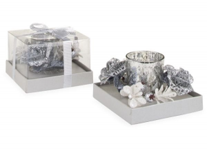 Candela natalizia in vetro argento cm.11,5x11,5x7h