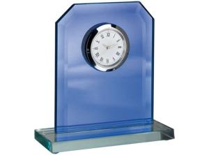 Orologio specchio vetro blu con piedistallo cm.11x4x13,5h