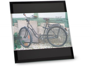 Portafoto black glass in vetro cm.18x13x1h