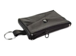 Portachiavi portamonete in pelle nera cm.12x7,5x1h