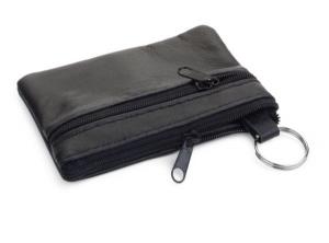 Portachiavi portamonete in pelle nera cm.10,5x7,7x1h