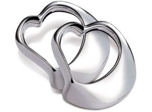 Portatovagliolo argento cuore silver plated set da 2 pz cm.2h diam.9
