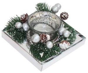 Candela bicchiere argento e rametti di pino cm.11,3x11,3x5,2h
