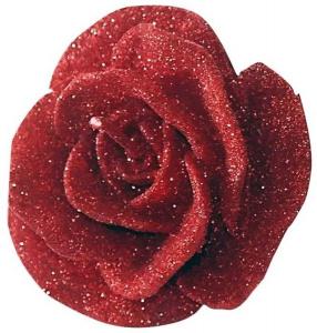 Candela fiore rosa rossa cm.8,5x8,5x5,8h