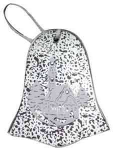 Campana decorazione natalizia in vetro cm.9,5x11,5x1h