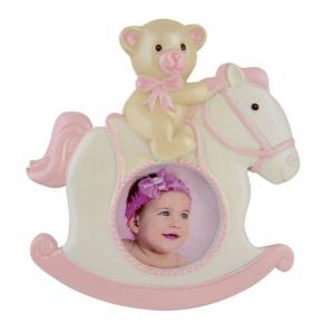 Portafoto cavallino rosa cm.11x11x2,5h diam.4,3