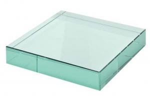 Fermacarte in vetro verde cm.8x8x1,9h