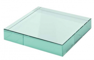 Fermacarte in vetro verde cm.8x8x1,2h