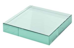 Fermacarte in vetro verde cm.10x10x1,2h