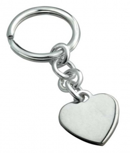 Portachiavi in argento 925 cuore cm.7,2x2,7x0,5h