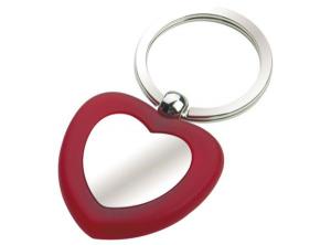 Portachiavi rosso love piastrina lucida cromato cm.7x3,5x1h