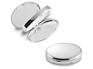 Specchietto portapillole ovale in silver plated cm.5,7x4,1x2h