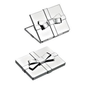 Silver plated specchietto fiocco cm.5,8x7,2x2h
