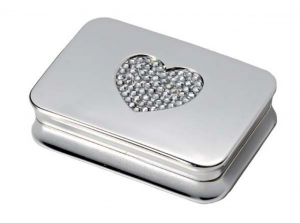 Portapillole cuore crystal heart in silver plated cm.5,5x3,8x1,2h