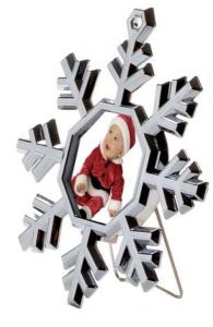 Mini portafoto fiocco di neve cm.9,5x8,5x1,5h